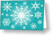 Snowflakes Green And White Greeting Card