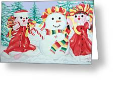Snowgirls With Serape Scarf Greeting Card
