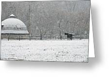 Snowing At The Round Barn Greeting Card