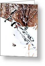 Snowing On The Bicycle Greeting Card