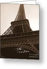 Snowing On The Eiffel Tower Greeting Card