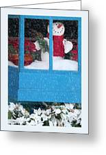 Snowman And Poinsettias - Frosty Christmas Greeting Card