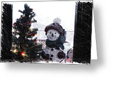 Snowman And Tree Pa Greeting Card