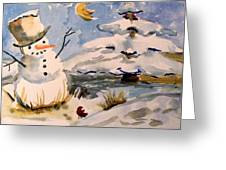 Snowman Hug Greeting Card