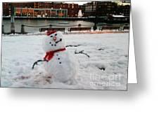 Snowman In Boston Greeting Card