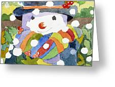 Snowman In Snow Greeting Card