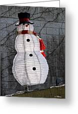 Snowman On The Roof Greeting Card