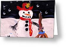 Snowman Under The Stars Greeting Card