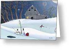 Snowmen On Hockey Pond Greeting Card