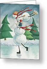 Snowmen Skating Greeting Card