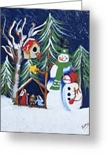 Snowmen With Creche Greeting Card