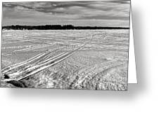 Snowmobile Tracks On China Lake Greeting Card