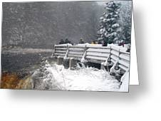 Snowstorm At The Falls Greeting Card