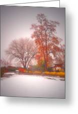Snowstorm In The Japanese Gardens Greeting Card