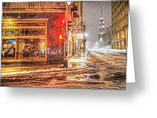 Snowstorm On Tremont Street Boston Ma Park Street Church Greeting Card