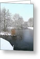 Chilled Scenery Around Frozen Canals Greeting Card