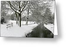 Walking On A Snowy Area Greeting Card