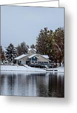 Snowy Boat House Greeting Card