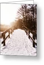 Snowy Bridge Greeting Card by Wim Lanclus