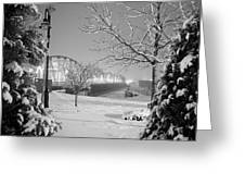 Snowy Bridge With Trees Greeting Card by Jeremy Evensen