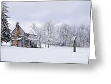 Snowy Cabin Greeting Card by Benanne Stiens