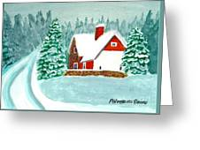 Snowy Cottage Greeting Card