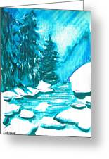 Snowy Creek Banks Greeting Card