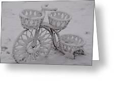 Snowy Cycle Wheel Greeting Card