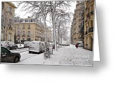 Snowy Day In Paris Greeting Card