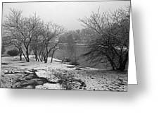 Snowy Day On Redd's Pond And Old Burial Hill Greeting Card