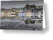 Snowy, Dreamy Reflection In Stockholm Greeting Card