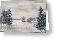 Snowy Farm  Greeting Card