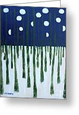 Snowy Forest At Midnight Greeting Card