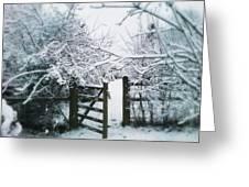Snowy Garden Gate Three Greeting Card