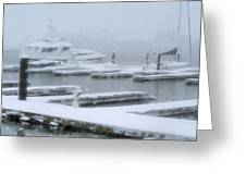 Snowy Harbor Greeting Card