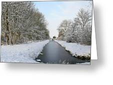 Frozen Scenery Along Canal Greeting Card