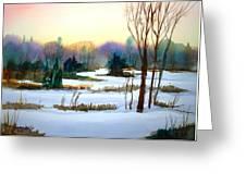 Snowy Landscape Scene Greeting Card