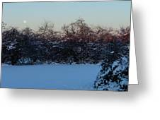 Snowy Moonset Greeting Card