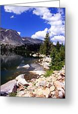 Snowy Mountain Lake Greeting Card