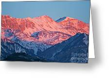Snowy Mountain Range With A Rosy Hue At Sunset Greeting Card
