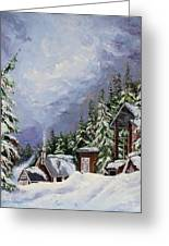Snowy Mountain Resort Greeting Card