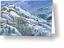 Snowy Mountain Road Greeting Card