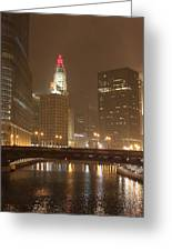 Snowy Night In Chicago Greeting Card