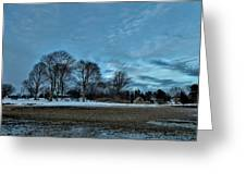 Snowy Obear Park, Beverly Ma, At Dusk Greeting Card
