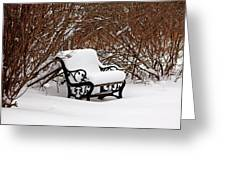 Snowy Park Bench Greeting Card