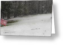 Snowy Patriot Quantico National Cemetery Greeting Card