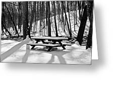 Snowy Picnic Table In Black And White Greeting Card