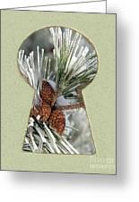 Snowy Pine Keyhole Greeting Card