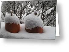 Snowy Pumpkins Greeting Card