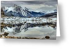 Snowy Reflections In Medicine Lake Greeting Card